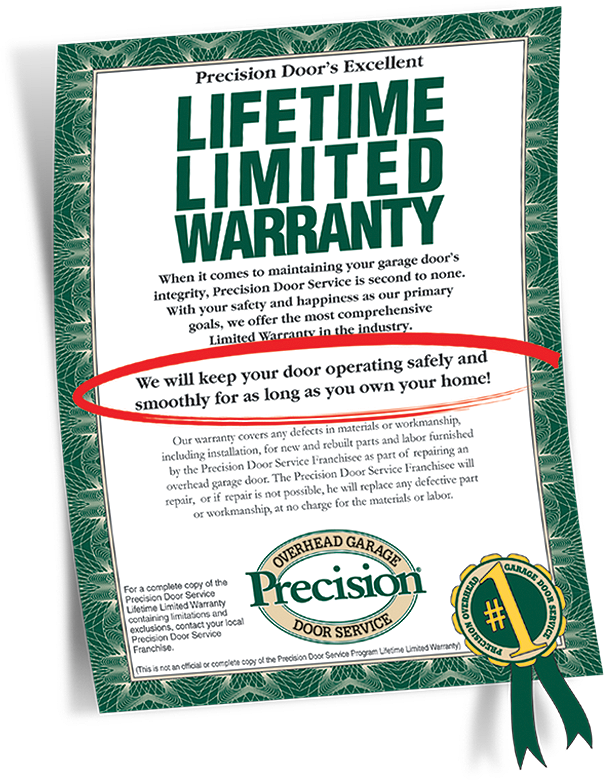 Garage door repair warranty by precision garage door of for Garage door services schertz tx